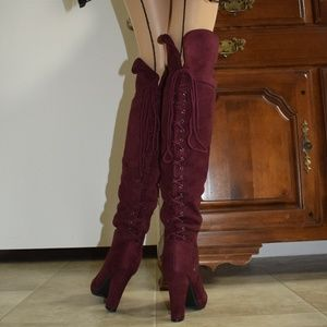Shoes - MAROON COLOR LACE IN BACK FAUX SUEDE BOOTS